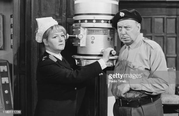 Actors Joan Sims and Bill Fraser in a sketch from episode 'Way Outward Bound' of the BBC television series 'The Goodies' January 11th 1973