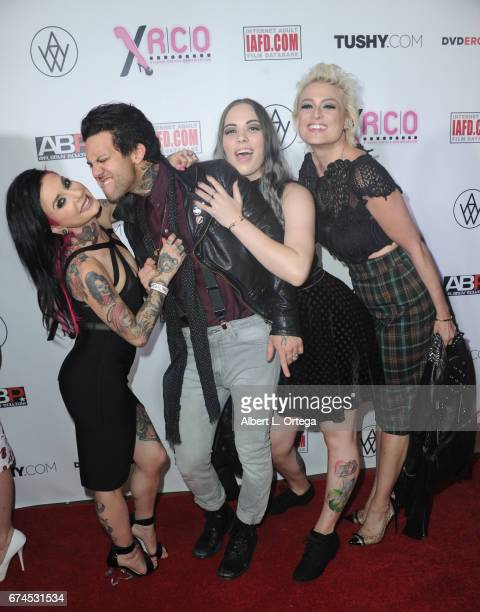 Actors Joanna Angel and Small Hands arrive for the 33rd Annual XRCO Awards Show held at OHM Nightclub on April 27 2017 in Hollywood California