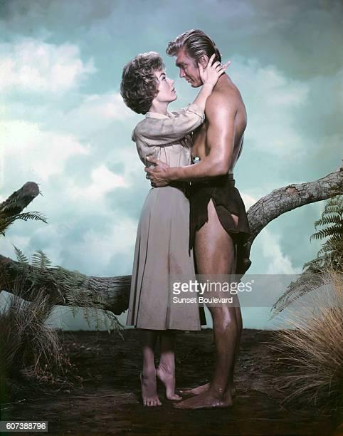 Actors Joanna Barnes and Dennis Miller on the set of Tarzan the Ape Man