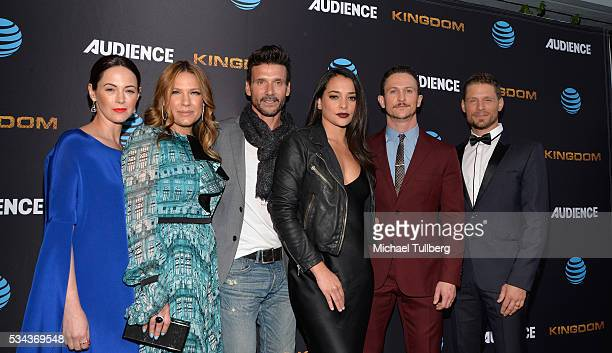 Actors Joanna Going Kiele Sanchez Frank grillo Natalie Martinez Jonathan Tucker and Matt Lauria attend the premiere screening for DirecTV's 'Kingdom'...