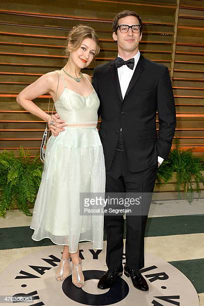 Actors Joanna Newsom and Andy Samberg attend the 2014 Vanity Fair Oscar Party hosted by Graydon Carter on March 2 2014 in West Hollywood California