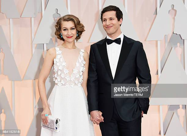 Actors Joanna Newsom and Andy Samberg attends the 87th Annual Academy Awards at Hollywood Highland Center on February 22 2015 in Hollywood California