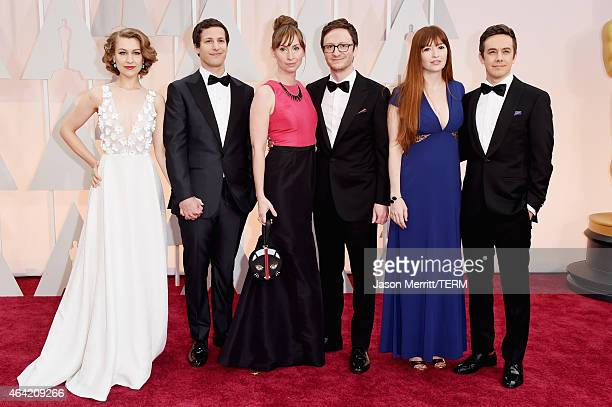 Actors Joanna Newsom Andy Samberg Liz Cackowski Akiva Schaffer Marielle Heller and Jorma Taccone attend the 87th Annual Academy Awards at Hollywood...