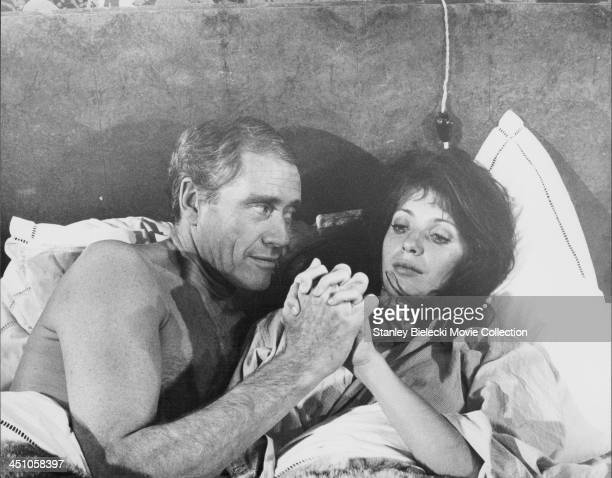 Actors Joanna Shimkus and Mel Ferrer in a scene from the film 'A Time for Loving' 1971