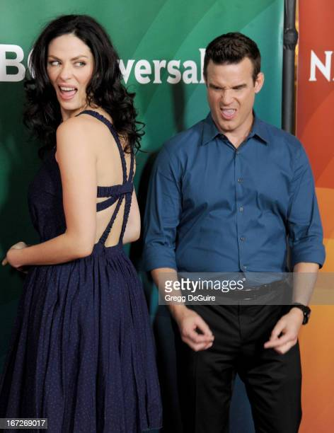 Actors Joanne Kelly and Eddie McClintock arrive at the 2013 NBC Summer Press Day at The Langham Huntington Hotel and Spa on April 22, 2013 in...