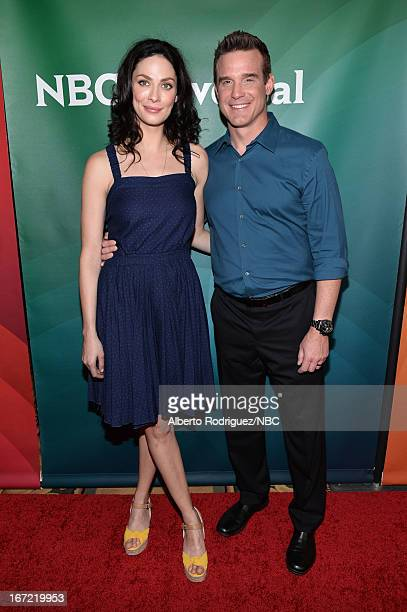 Actors Joanne Kelly and Eddie McClintock attend the NBC Universal Summer 2013 Press Day at Langham Hotel on April 22, 2013 in Pasadena, California.