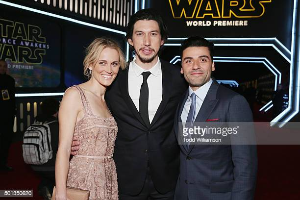 Actors Joanne Tucker Adam Driver and Oscar Isaac attend the Premiere of Walt Disney Pictures and Lucasfilm's Star Wars The Force Awakens on December...