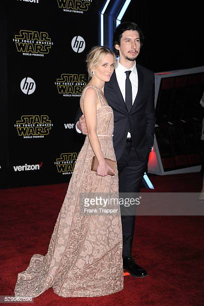 Actors Joanne Tucker and Adam Driver arrive at the premiere of Star Wars The Force Awakens in Hollywood