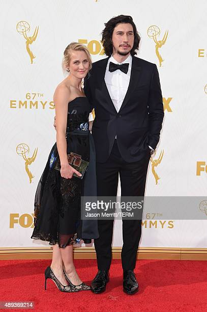 Actors Joanne Tucker and Adam Driver attend the 67th Annual Primetime Emmy Awards at Microsoft Theater on September 20 2015 in Los Angeles California