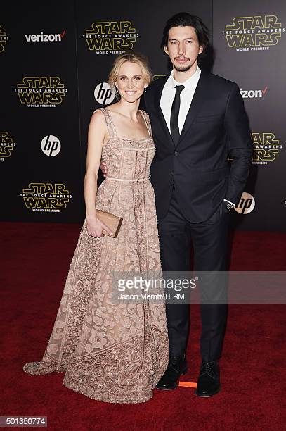 Actors Joanne Tucker and Adam Driver attend the Premiere of Walt Disney Pictures and Lucasfilm's Star Wars The Force Awakens on December 14 2015 in...
