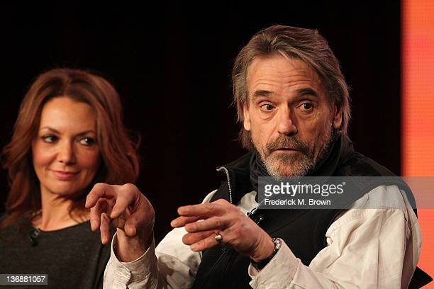 Actors Joanne Whalley and Jeremy Irons of the television show 'The Borgias' speak during the Showtime portion of the 2012 Television Critics...