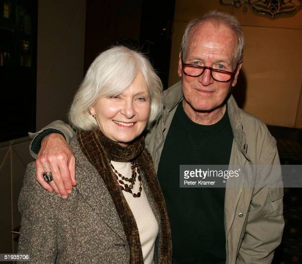 "Actors Joanne Woodward and Paul Newman attend a reception for a special screening of ""The Woodsman"" on January 10, 2004 in New York City."