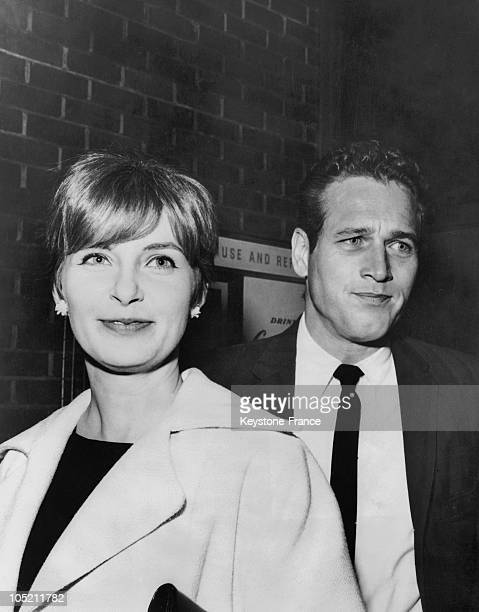 Actors Joanne Woodward And Paul Newman Husband And Wife In Real Life Attending The Premiere Of The Film To Kill A Mockingbird Starring Gregory Peck...