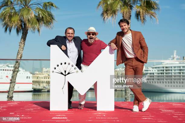 Actors Joaquin Nunez Manuel Moron and Alejandro Albarracin attend 'Mi Querida Cofradia' photocall during the 21th Malaga Film Festival on April 17...