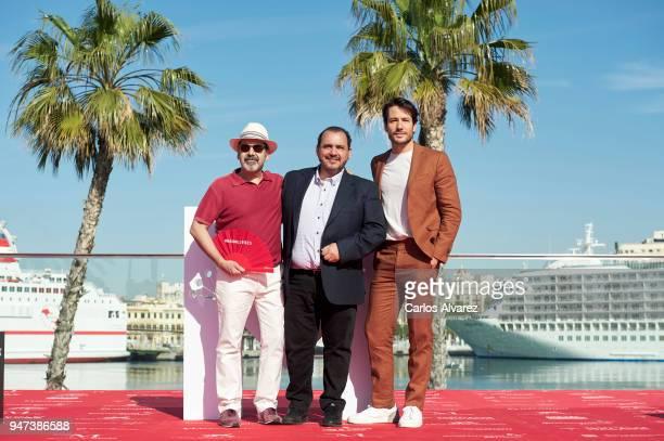 Actors Joaquin Nunez Manuel Moron and Alejandro Albarracin attend 'Mi Querida Cofradia' photocall during the 21th Malaga Film Festival on April 17...