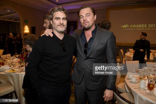 Actors Joaquin Phoenix and Leonardo DiCaprio attend the 20th Annual AFI Awards at Four Seasons Hotel Los Angeles at Beverly Hills on January 03, 2020...