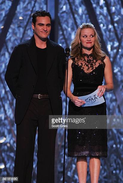 Actors Joaquin Phoenix and Reese Witherspoon present the award for Single Of The Year at the 39th Annual Country Music Association Awards at Madison...