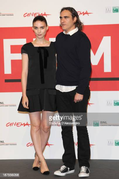 Actors Joaquin Phoenix and Rooney Mara attend the 'Her' Photocall during the 8th Rome Film Festival at the Auditorium Parco Della Musica on November...