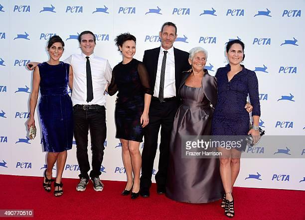 Actors Joaquin Phoenix Arlyn Phoenix Rain Phoenix Liberty Phoenix Jeffrey Weisberg Summer Phoenix arrive at PETA's 35th Anniversary Party at...