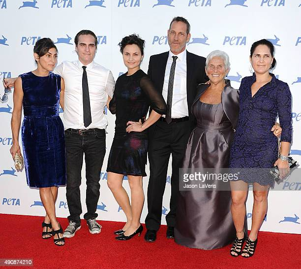 Actors Joaquin Phoenix Arlyn Phoenix Rain Phoenix Liberty Phoenix Jeffrey Weisberg and Summer Phoenix attend PETA's 35th anniversary party at...