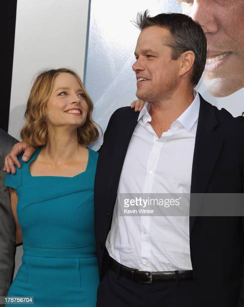Actors Jodie Foster and Matt Damon attend the premiere of TriStar Pictures' Elysium at Regency Village Theatre on August 7 2013 in Westwood California