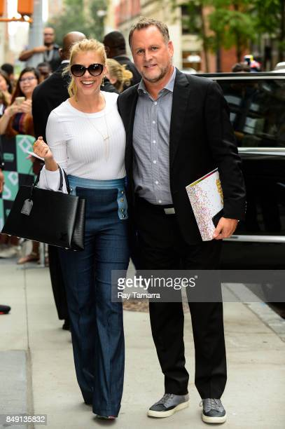 Actors Jodie Sweetin and Dave Coulier leave the AOL Build taping at the AOL Studios on September 18 2017 in New York City