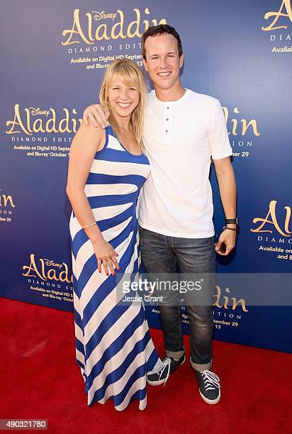 Actors Jodie Sweetin and Scott Weinger attend a special LA screening celebrating Diamond Edition release of ALADDIN at The Walt Disney Studios on...