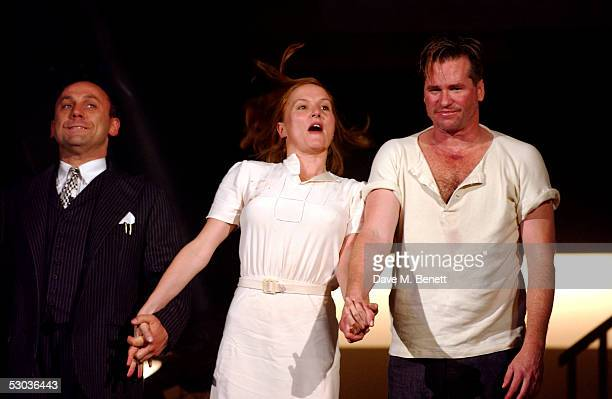 Actors Joe Alessi Charlotte Emmerson and Val Kilmer appear at the curtain call following the press night for The Postman Always Rings Twice at The...
