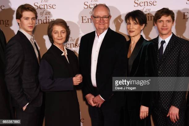 Actors Joe Alwyn Charlotte Rampling Jim Broadbent Harriet Walter and Billy Howle attend 'The Sense of an Ending' UK gala screening on April 6 2017 in...
