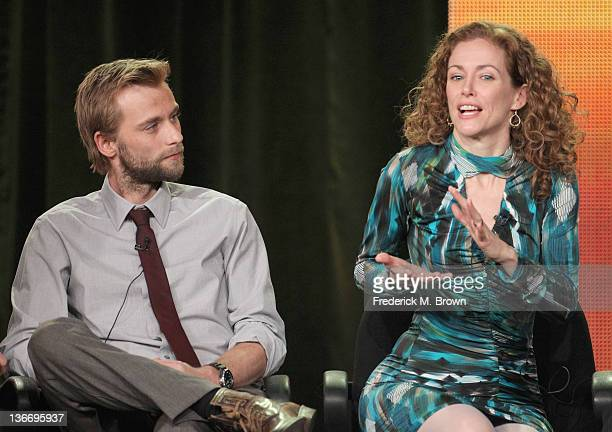 Actors Joe Anderson and Leslie Hope speak during 'The River' panel during the ABC portion of the 2012 Winter TCA Tour held at The Langham Huntington...