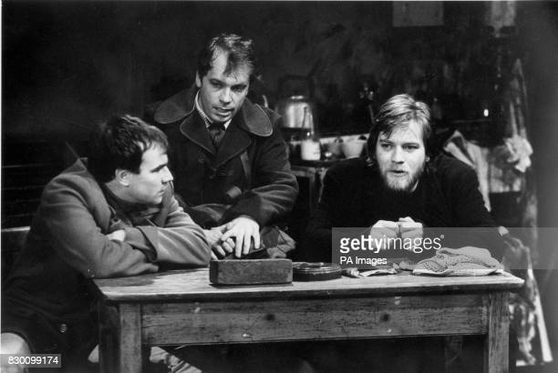 Actors Joe Duttine, Nicolas Tennant and Ewan McGregor in Little Malcolm nad his Struggle Against the Eunuchs at Hampstead Theatre, tonight . See PA...