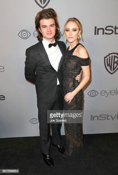 Actors Joe Keery and Maika Monroe attend the 2018 InStyle and Warner Bros 75th Annual Golden Globe Awards PostParty at The Beverly Hilton Hotel on...