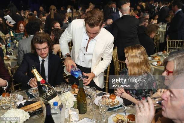 Actors Joe Keery Dacre Montgomery and Natalia Dyer attend the 23rd Annual Critics' Choice Awards on January 11 2018 in Santa Monica California