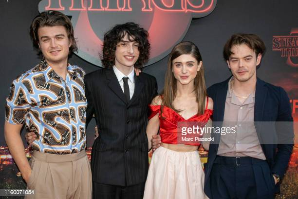 Actors Joe Keery Finn Wolfhard Natalia Dyer and Charlie Heaton attend the Premiere Of Netflix's Stranger Things At Le Grand Rex on July 04 2019 in...