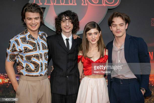 """Actors Joe Keery, Finn Wolfhard, Natalia Dyer and Charlie Heaton attend the Premiere Of Netflix's """"Stranger Things"""" At Le Grand Rex on July 04, 2019..."""