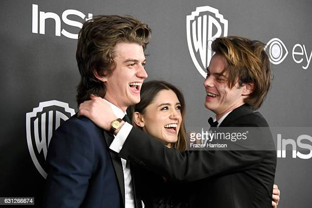 Actors Joe Keery Natalia Dyer and Charlie Heaton attend the 18th Annual PostGolden Globes Party hosted by Warner Bros Pictures and InStyle at The...