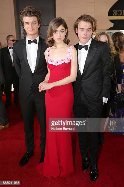 Actors Joe Keery Natalia Dyer and Charlie Heaton attend the 23rd Annual Screen Actors Guild Awards at The Shrine Expo Hall on January 29 2017 in Los...