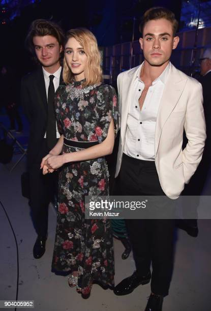Actors Joe Keery Natalia Dyer and Dacre Montgomery attend The 23rd Annual Critics' Choice Awards at Barker Hangar on January 11 2018 in Santa Monica...