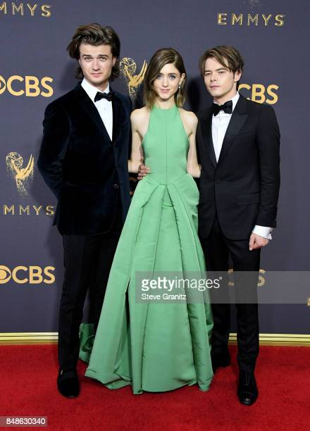 Actors Joe KeeryNatalia Dyer and Charlie Heaton attend the 69th Annual Primetime Emmy Awards at Microsoft Theater on September 17 2017 in Los Angeles...
