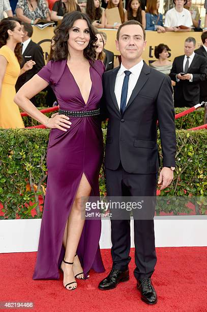 Actors Joe Lo Truglio and Beth Dover attend the 21st Annual Screen Actors Guild Awards at The Shrine Auditorium on January 25 2015 in Los Angeles...