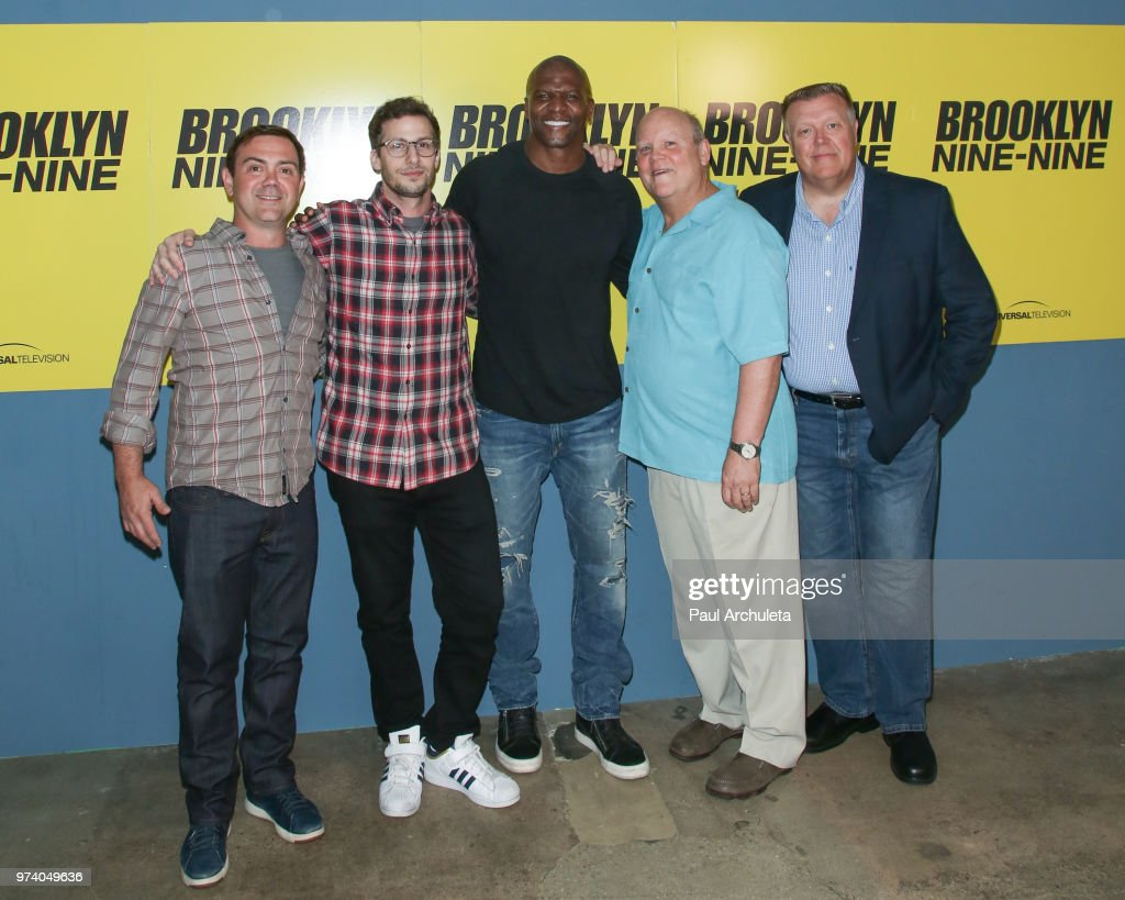 Actors Joe Lo Truglio, Andy Samberg, Terry Crews, Dirk Blocker and Joel McKinnon Miller attend Universal Television's FYC of 'Brooklyn Nine-Nine' at UCB Sunset Theater on June 13, 2018 in Los Angeles, California.