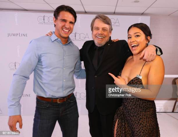 Actors Joe LoCicero Mark Hamill and host Gina Rodriguez attend the Costume Designers Guild Awards at The Beverly Hilton Hotel on February 20 2018 in...