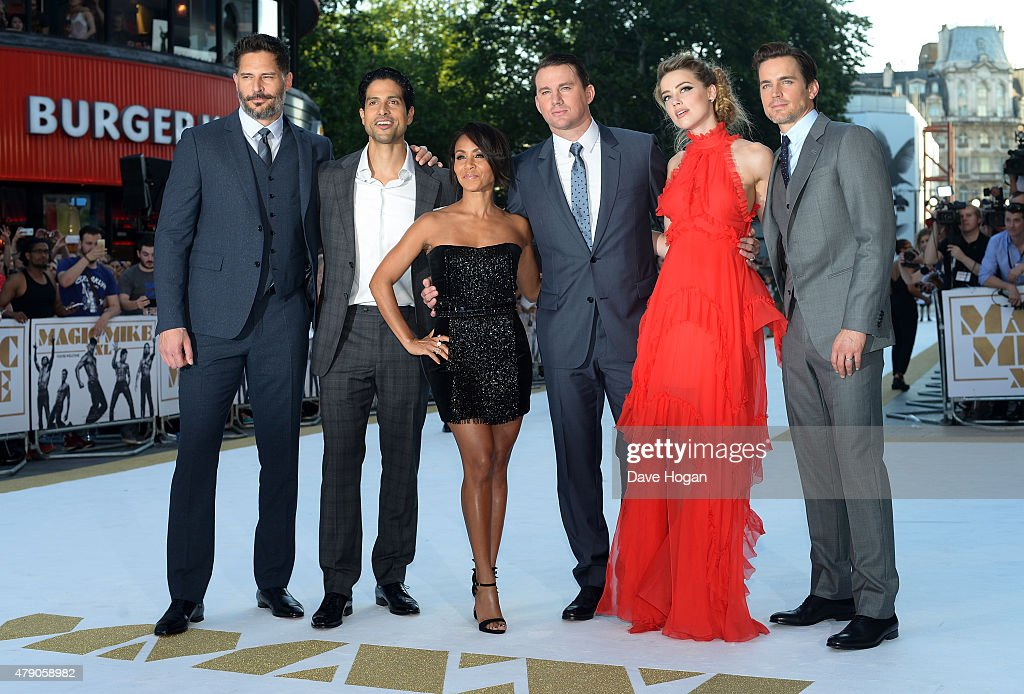 Actors Joe Manganiello, Adam Rodriguez, Jada Pinkett Smith, Channing Tatum, Amber Heard and Matt Bomer attend the European Premiere of 'Magic Mike XXL' at Vue West End on June 30, 2015 in London, England.