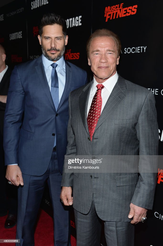 Actors Joe Manganiello and Arnold Schwarzenegger attend The Cinema Society with Muscle & Fitness screening of Open Road Films' 'Sabotage at AMC Loews Lincoln Square on March 25, 2014 in New York City.