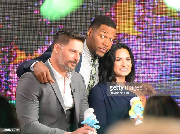 Actors Joe Manganiello and Demi LovatoMichael Strahan tape an interview at 'Good Morning America' at the ABC Times Square Studios on March 20 2017 in...