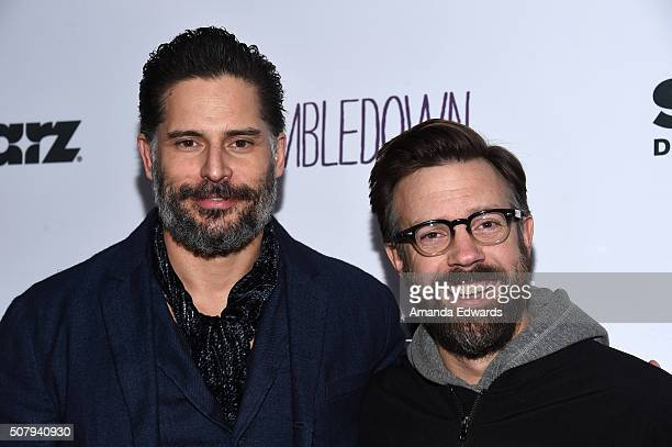 Actors Joe Manganiello and Jason Sudeikis arrive at the premiere of Starz Digital Media's 'Tumbledown' at the Aero Theatre on February 1 2016 in...