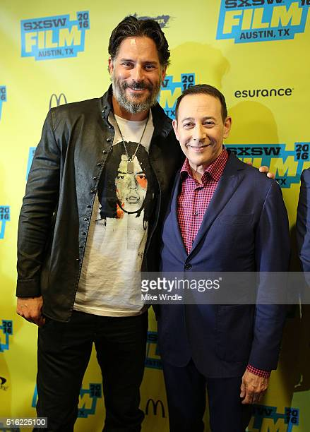 Actors Joe Manganiello and Paul Reubens attend the premiere of 'Peewee's Big Holiday' during the 2016 SXSW Music Film Interactive Festival at...
