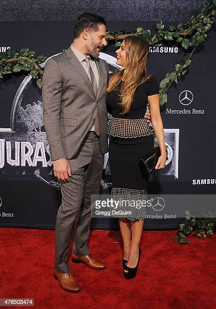 Actors Joe Manganiello and Sofia Vergara arrive at the World Premiere of 'Jurassic World' at Dolby Theatre on June 9 2015 in Hollywood California