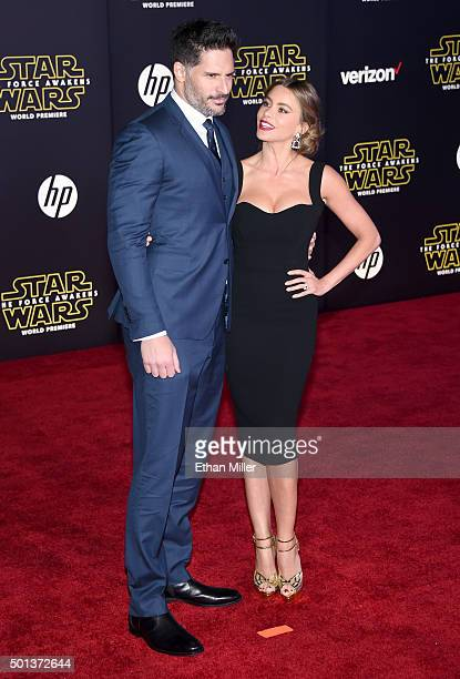 Actors Joe Manganiello and Sofia Vergara attend the premiere of Walt Disney Pictures and Lucasfilm's 'Star Wars The Force Awakens' at the Dolby...