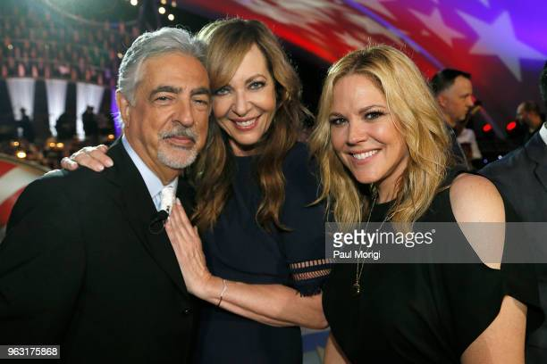 Actors Joe Mantegna, Allison Janney and Mary McCormack pose for a photo during the finale of the 2018 National Memorial Day Concert at U.S. Capitol,...